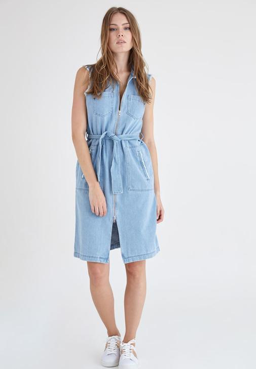 Mavi Fermuar Detaylı Denim Elbise