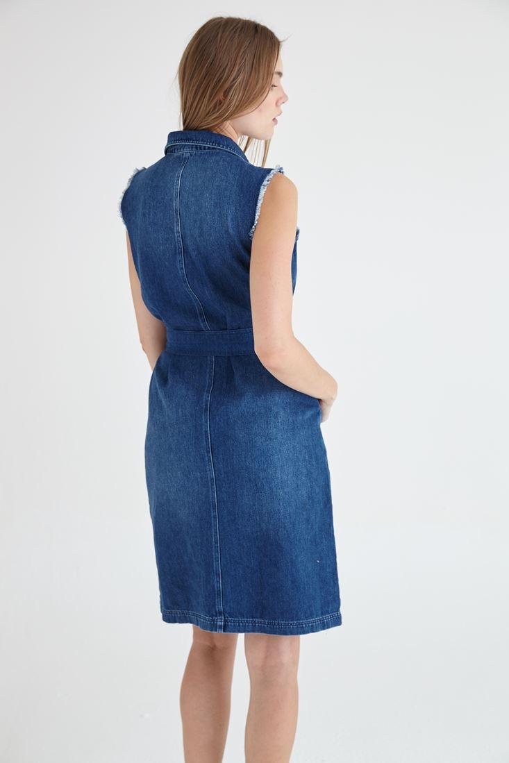 Bayan Mavi Fermuar Detaylı Denim Elbise