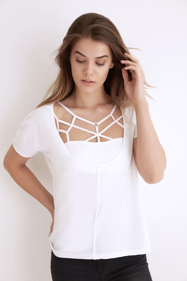 Bayan Beyaz Derin Yaka Tişört