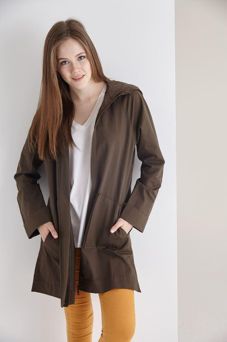 Bayan Yeşil Kapüşonlu İnce Ceket