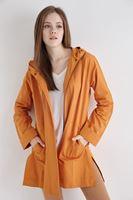 Bayan Turuncu Kapüşonlu İnce Ceket