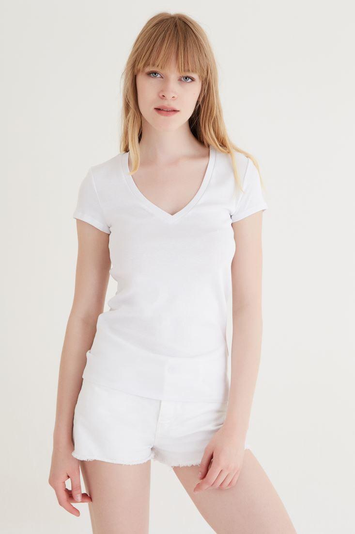Bayan Beyaz V Yaka Basic Tişört