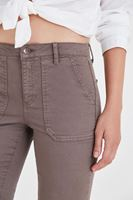 Bayan Gri Cep Detaylı İspanyol Paça Pantolon