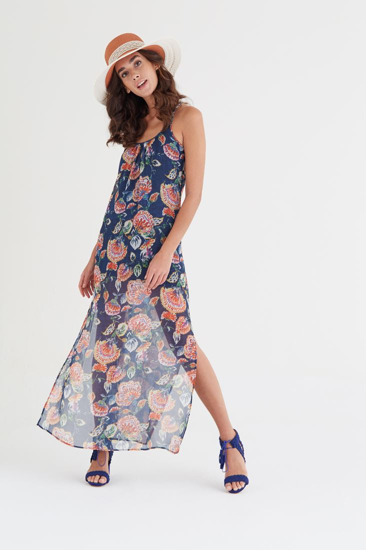 Mixed Printed Long Dress