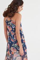 Bayan Çok Renkli Büyük Desenli Uzun Elbise