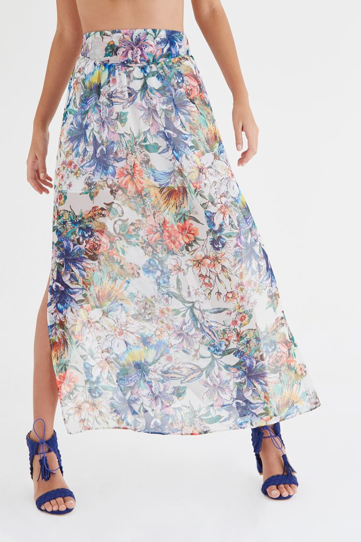 Mixed Skirt With Printed Detail