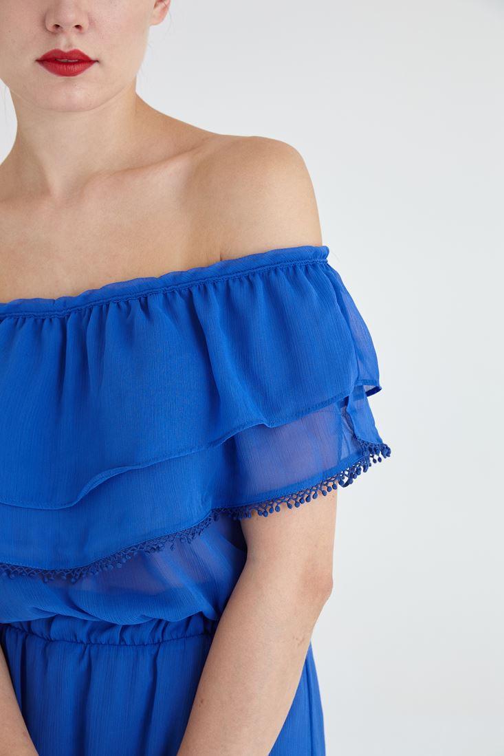 Bayan Mavi Şifon Elbise