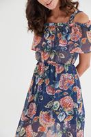 Bayan Çok Renkli Omuz Detaylı Elbise