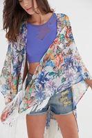 Bayan Çok Renkli Püskül Detaylı Desenli Kimono