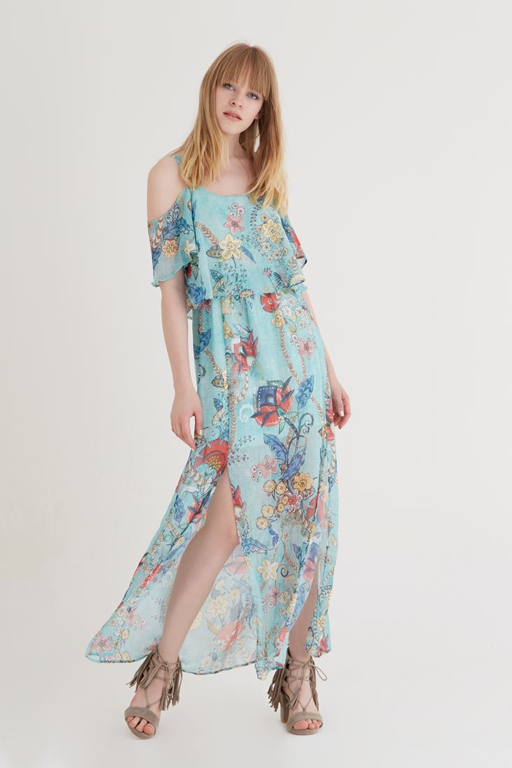 Bayan Çok Renkli Desenli Şifon Elbise