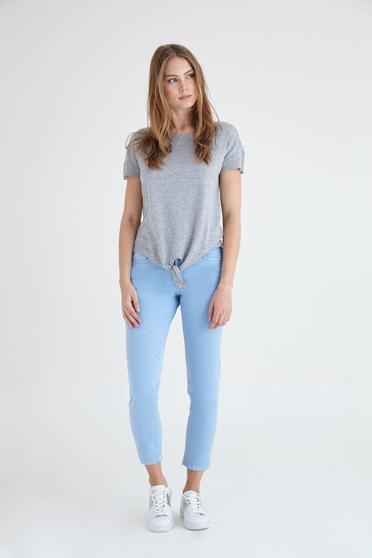Bayan Mavi Kısa Paça Ara Bel Pantolon