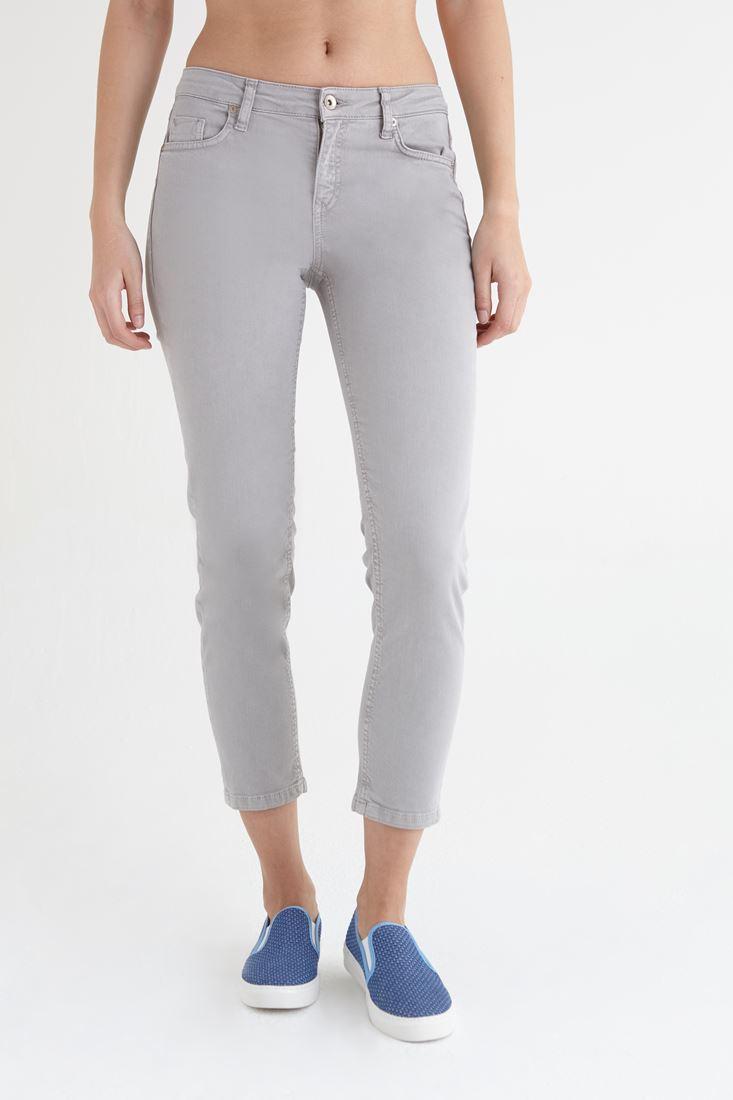Bayan Gri Kısa Paça Ara Bel Pantolon