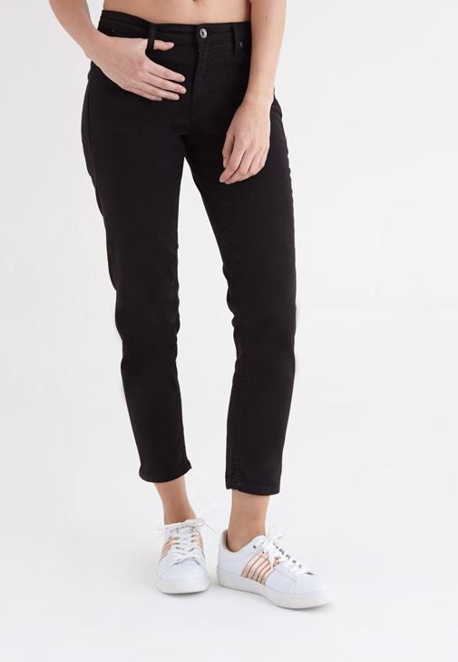 Siyah Kısa Paça Ara Bel Pantolon