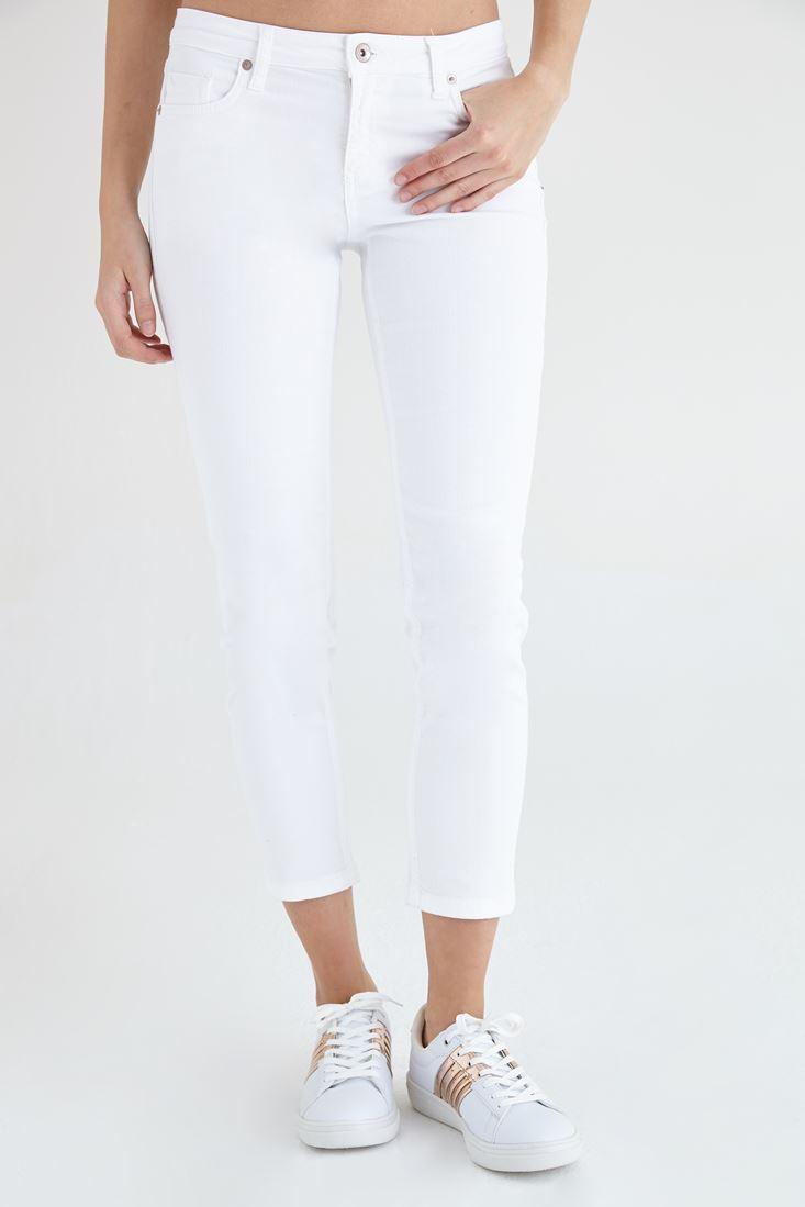 Bayan Beyaz Kısa Paça Ara Bel Pantolon
