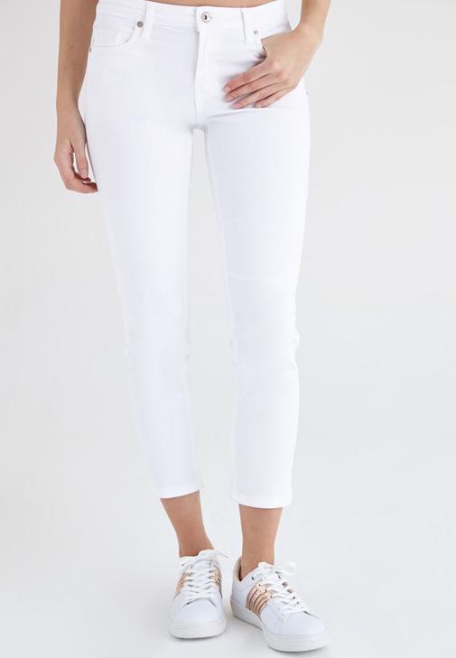 Beyaz Kısa Paça Ara Bel Pantolon
