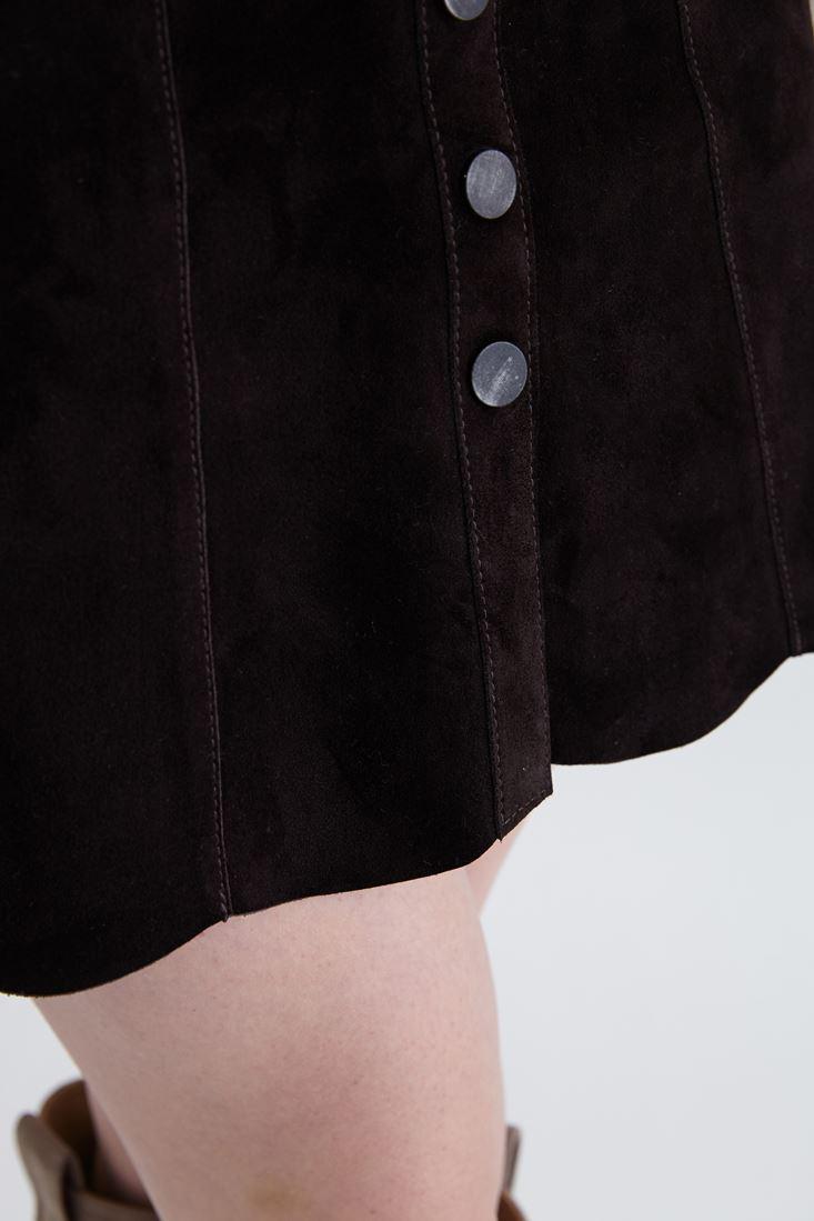 Bayan Kahverengi Düğme Detaylı Süet Deri Etek