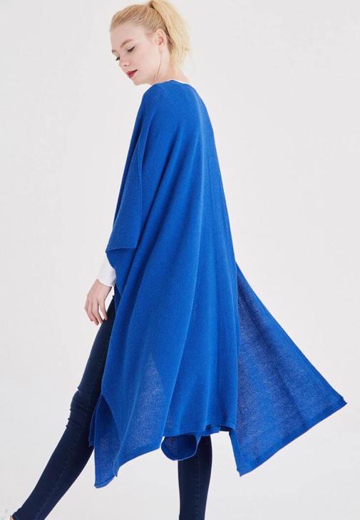 Mavi Dökümlü Uzun Hırka