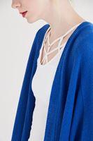 Bayan Mavi Dökümlü Uzun Hırka