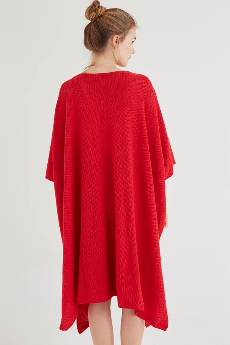 Bayan Kırmızı Dökümlü Uzun Hırka