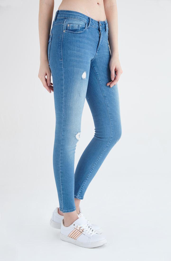 Bayan Mavi Düşük Bel Jean