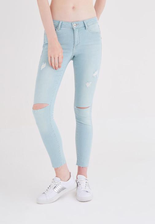 Mavi Düşük Bel Jean