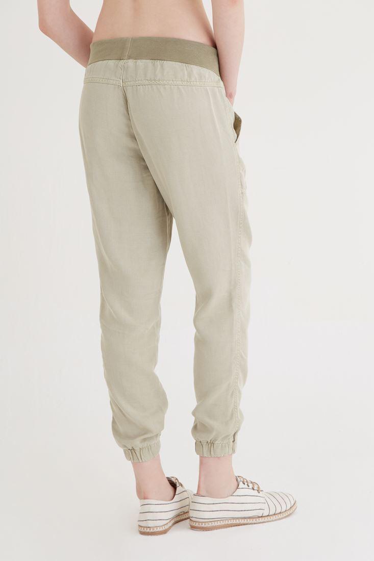 Bayan Yeşil Paçaları Lastikli Pantolon