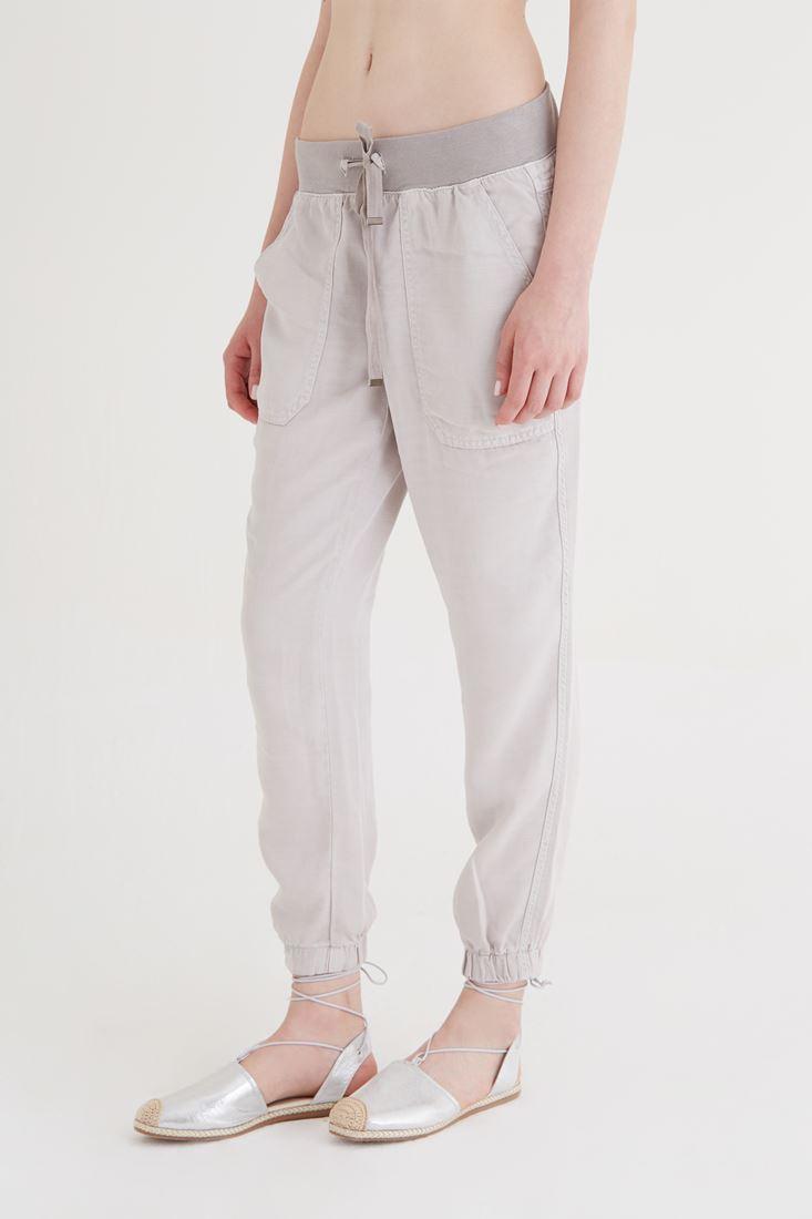 Bayan Gri Paçaları Lastikli Pantolon