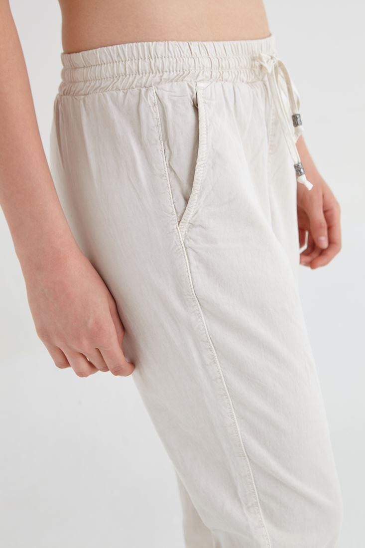 Bayan Krem Beli Lastikli Havuç Pantolon