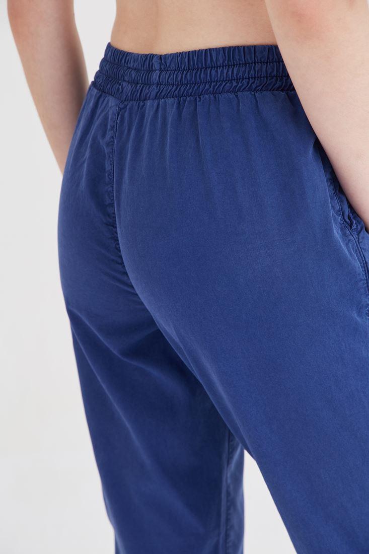 Bayan Lacivert Beli Lastikli Havuç Pantolon