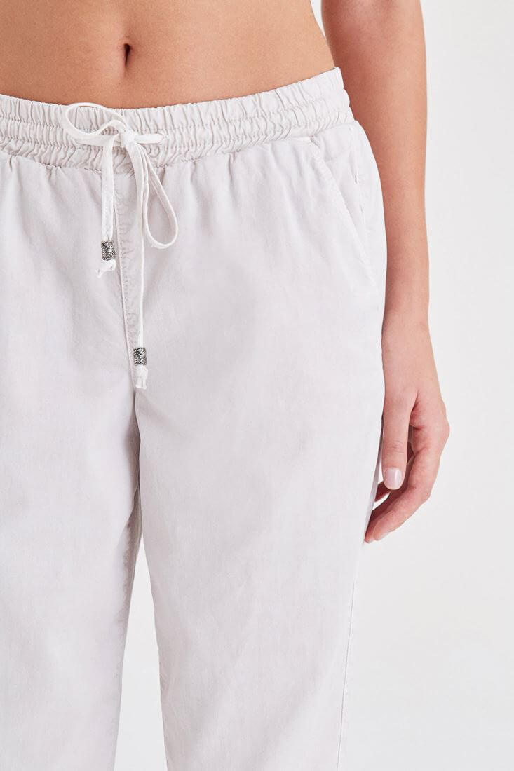 Bayan Gri Beli Lastikli Havuç Pantolon