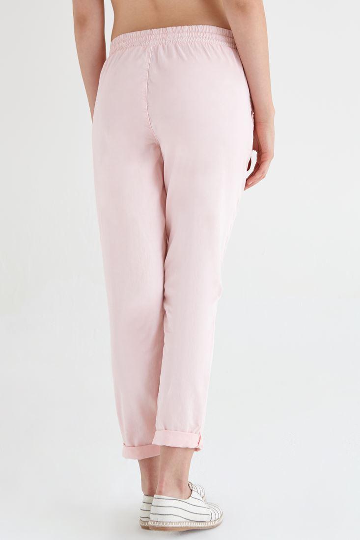 Bayan Pembe Beli Lastikli Havuç Pantolon