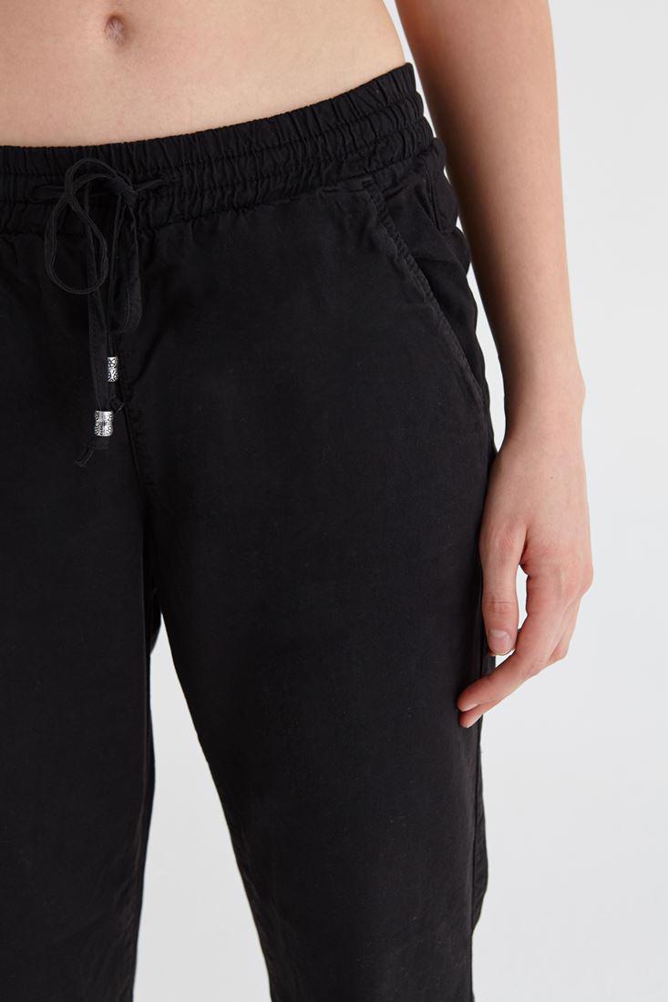Bayan Siyah Beli Lastikli Havuç Pantolon