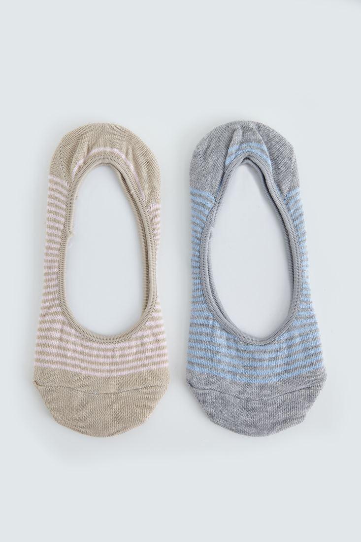 Bayan Gri Çizgili İkili Babet Çorabı