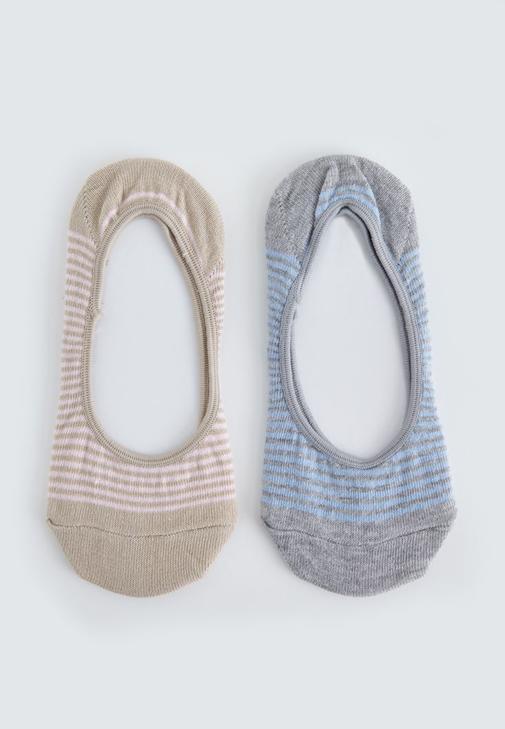 Gri Çizgili İkili Babet Çorabı