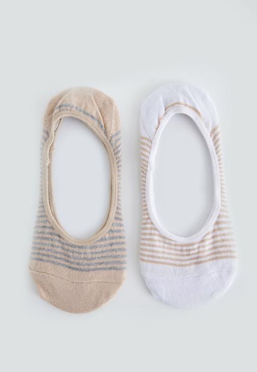 Beyaz Çizgili Babet Çorabı