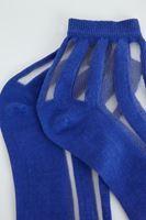 Bayan Mavi Şeffaf Detaylı Çorap
