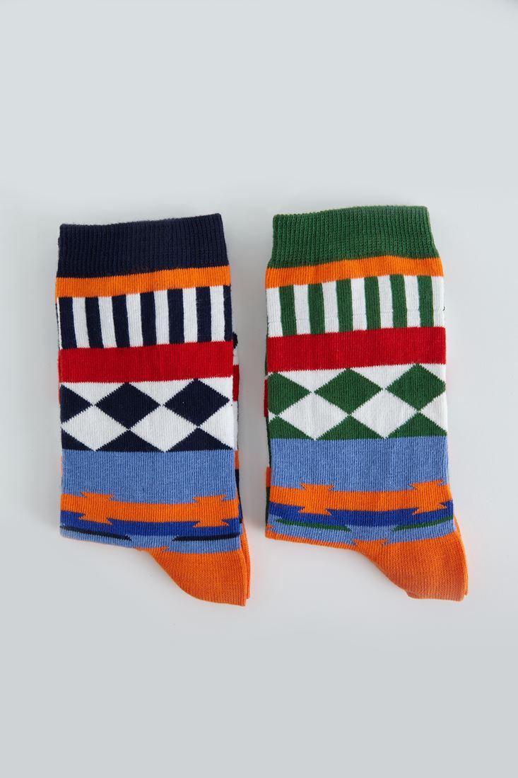 Çok Renkli Desenli Çorap