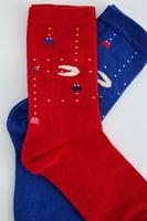 Bayan Mavi Desenli İkili Çorap