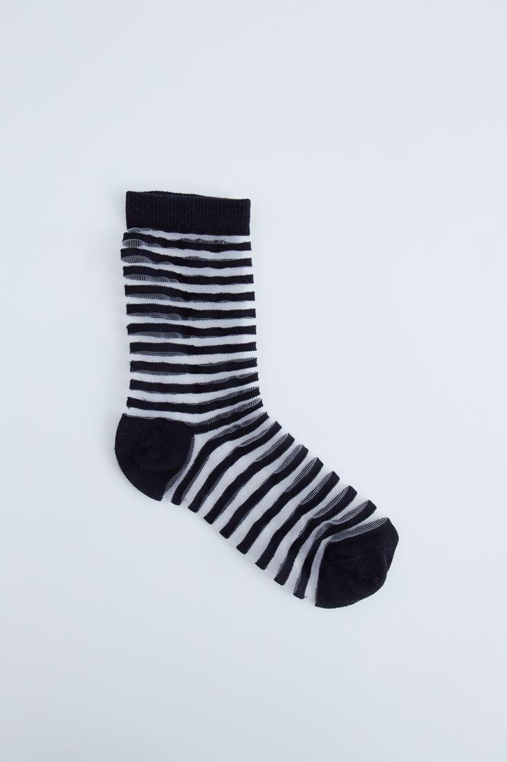 Siyah Şeffaf Çizgili Çorap