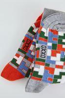 Bayan Gri Desenli Renkli Çorap