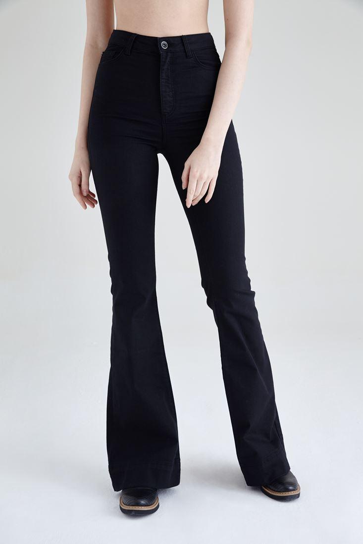 Siyah Ultra Yüksek Bel İspanyol Paça Jean Pantolon