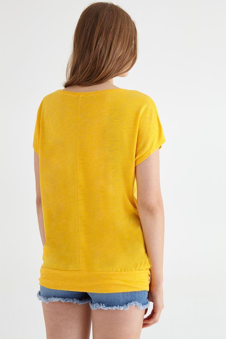 Bayan Sarı Geniş Yakalı Tişört