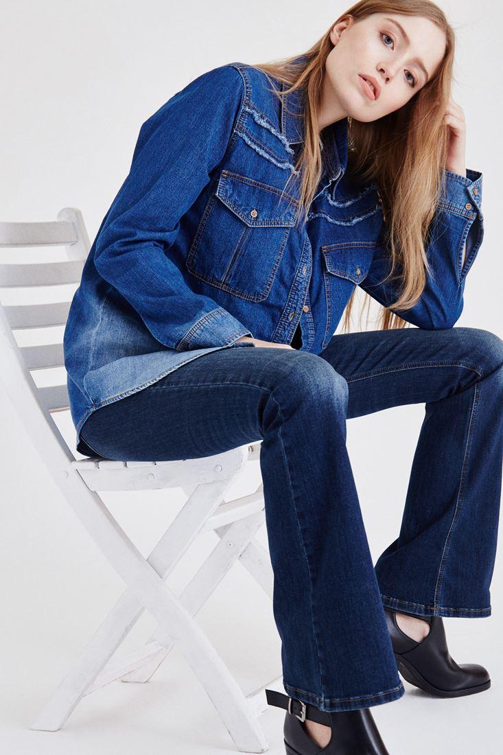 Bayan Mavi Yıkamalı Denim Gömlek