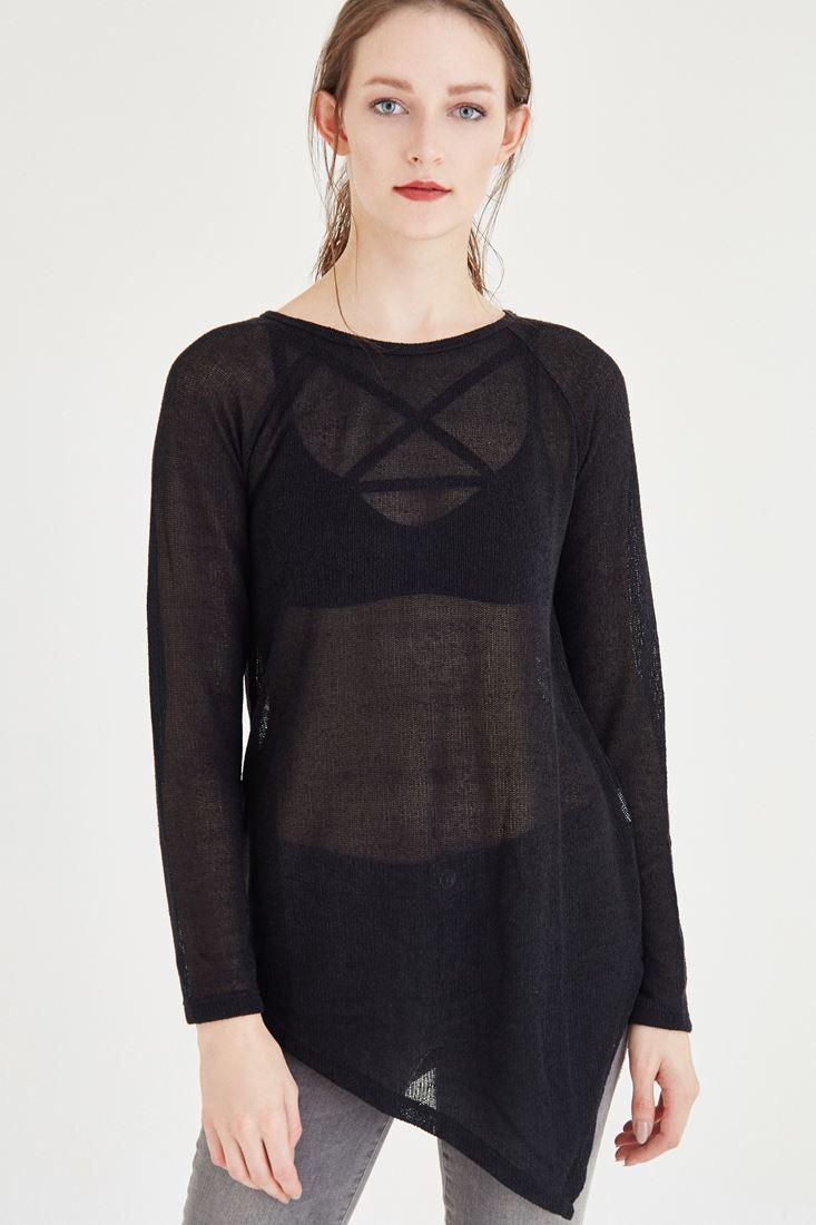 Bayan Siyah Asimetrik Kesimli Bluz