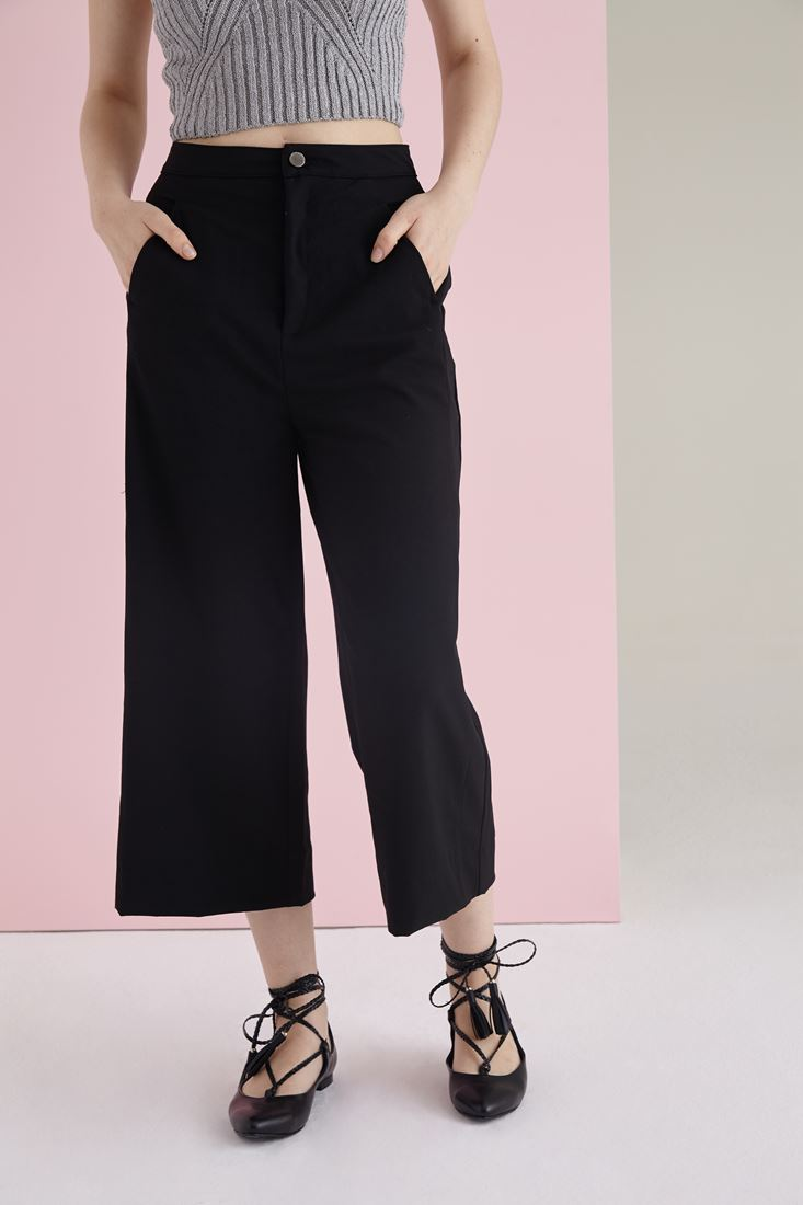 Bayan Siyah Yüksek Bel Culotte Pantolon