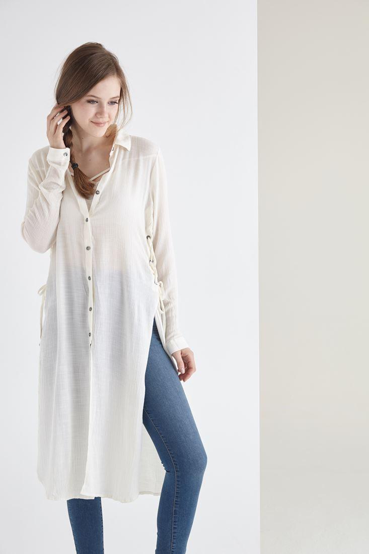 Krem Yanları Yırtmaçlı Bağcıklı Uzun Gömlek
