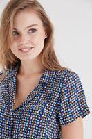 Bayan Mavi Desenli Gömlek