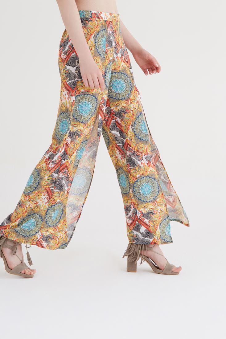 Bayan Çok Renkli Yırtmaçlı Pantolon