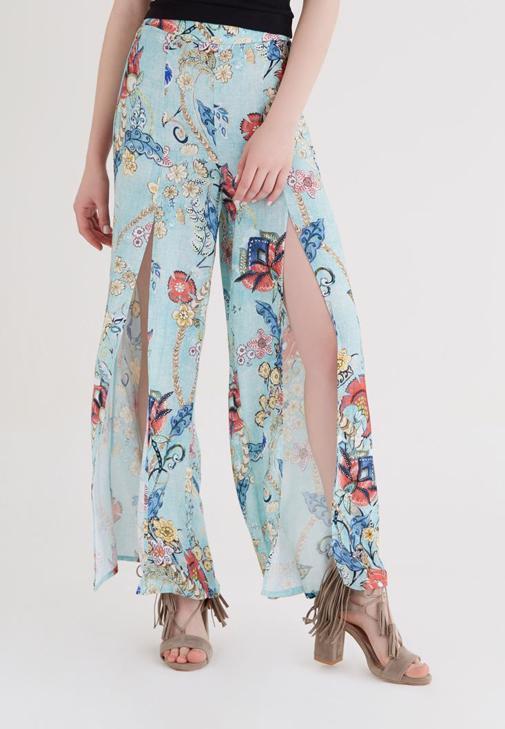 Çok Renkli Yırtmaçlı Pantolon