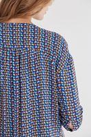 Bayan Mavi Desenli Ceket